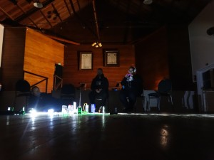 The team investigates inside the hall.