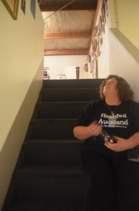 Barbara investigates in the stairwell at an undisclosed location in Henderson