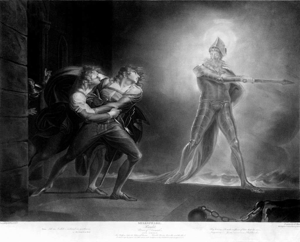 """""""Hamlet and his father's ghost"""" by Henry Fuseli (1796 drawing)."""