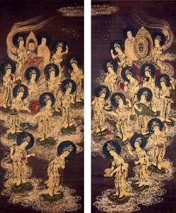 Pair of Japanese hanging scrolls, c1300, depicting Bodhisattvas descending from Heaven