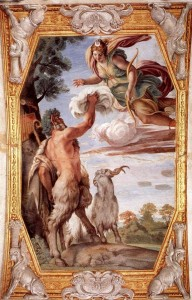 Pan painting, Homage to Diana, by Annibale Carracci (1560-1609), Italian Baroque painter