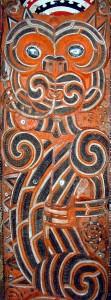 Taniwha carving, pub dom